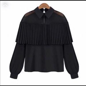 Black pleated blouse. Super cute. NWOT. Not Zara